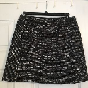 Black H&M Mini Skirt with Brown and White Details